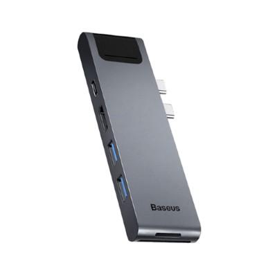 Hub Baseus 7 em 1 para MacBook Pro HDMI/USB/USB-C/SD/microSD/RJ45 Cinzento