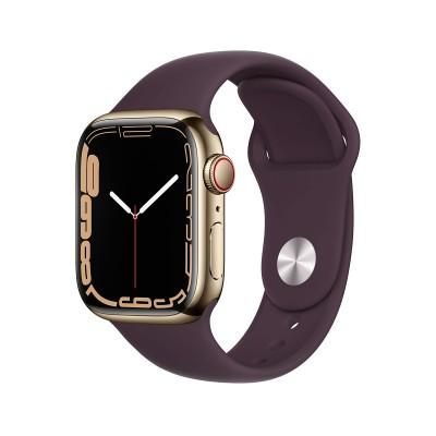 Smartwatch Apple Watch Serie 7 GPS + Cellular 45 mm Acero Inoxidable Dorado con Brazalete Deportivo Dark Cherry