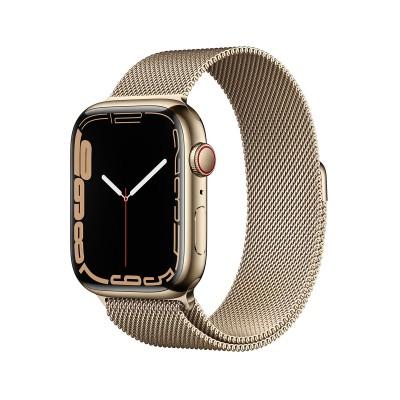 Smartwatch Apple Watch Serie 7 GPS + Cellular 45 mm Acero Inoxidable Dorado con Brazalete de Lazo Milanesa Dorado