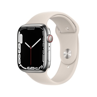 Smartwatch Apple Watch Serie 7 GPS + Cellular 45 mm Acero Inoxidable Plateado con Brazalete Deportivo Starlight