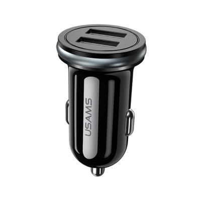 Lighter Charger USAMS 2.4A w/2 Outputs Black (CC050)