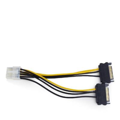 Internal power adapter cable for PCI express, 8 pin to SATA x 2 pcs