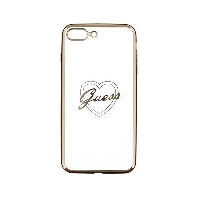 Capa Silicone Guess iPhone 7/8 Plus Coração Dourado Transparente (GUHCP7LTRHG)